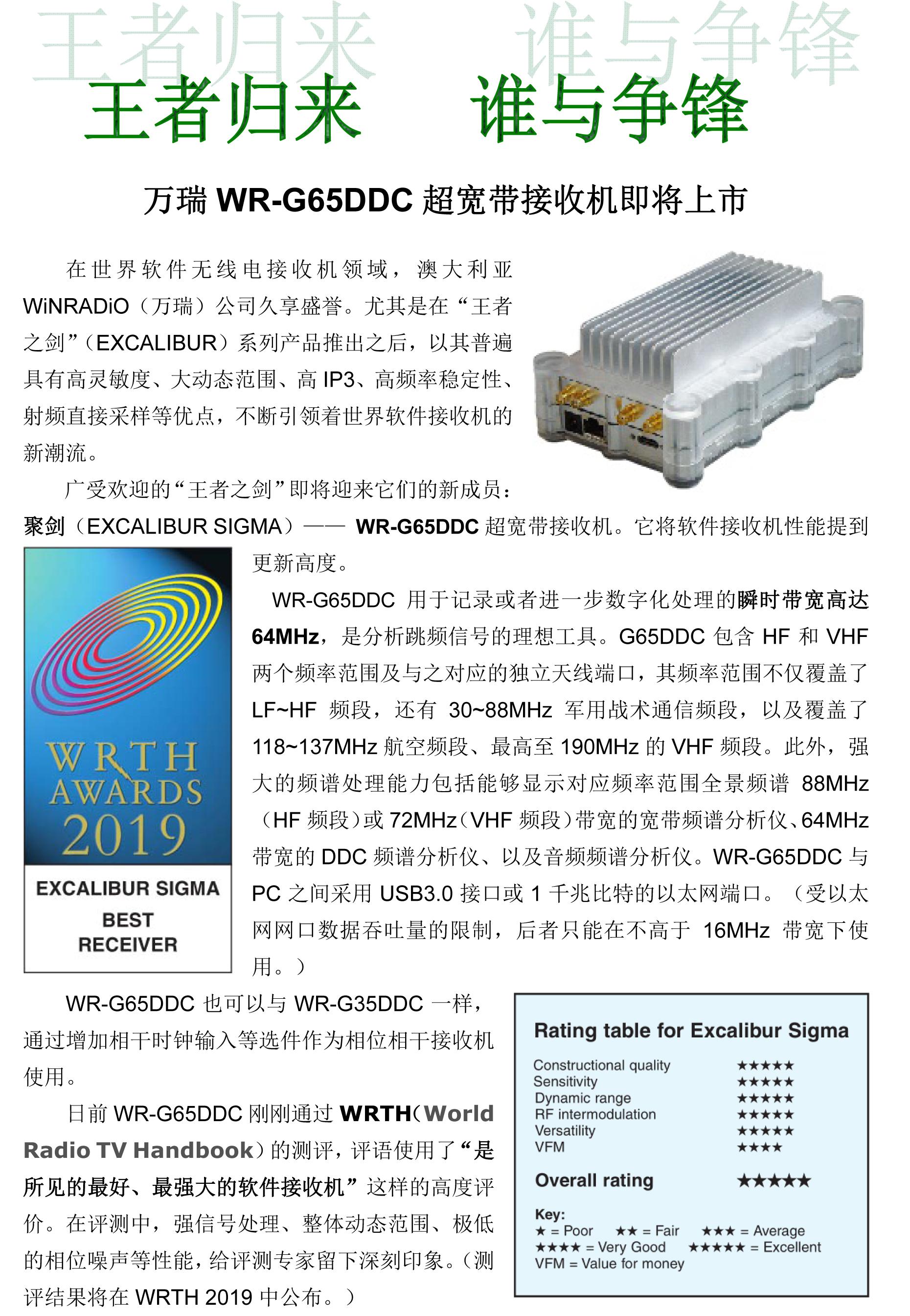 万瑞WR-G65DDC超宽带接收机即将上市